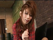 Hikari Hino sucking a huge clear dildo in this sex video