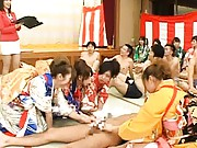 Cute Teens in kimono play in sex games with tons of hot mans