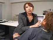 Japanese AV Model getting ready to ride a cock rides a mans legs