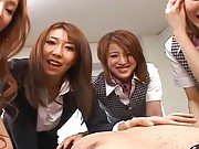 Japanese AV Models getting ready to fuck give handjob to a cock