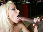 Blonde babe fucks black dick before getting her tits and face covered in cock sauce