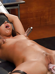 Bound kinky amateur, is blindfolded, teased with medical toys & vibes, then machine fucked while a bucket of ice titters on her stomach She cums hard!