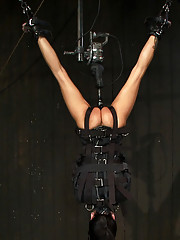 Bound in a straightjacket, suspended upside down, brutally fucked by a machine, made to suck cock and zippered.  What did you do last Saturday?