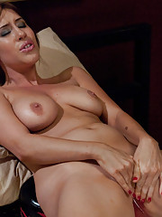 Hot big titted brunette fantasizes about machine porn - she slips off her lingerie and cums from custom robots pounding her in doggie and missionary.