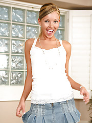 Skinny Anilos milf Aaliyah Love slides off her mini skirt and gets wet in the bathtub