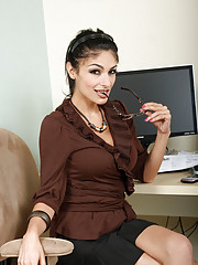 Anilos Persia peels off her clothes and reveals her panties and bra in the office