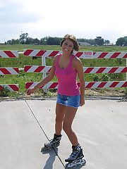 Roller blading without panties