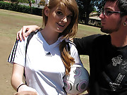 Redhead soccer chick gets fucked really hard!