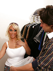 Seth Gamble wants to give away his clothes to charity and Holly Halston is by to pick up the goods.  Little does he know that he