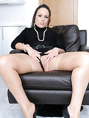 Tight ass leggy lucy in tan nylons