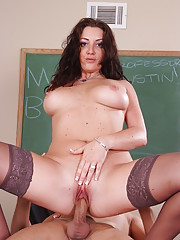 Professor Austin is having such a difficult time keeping up with her busy schedule that she showed up late for a class she�s teaching. Only one student waited but he�s in for the most titillating tutoring sessions ever!!