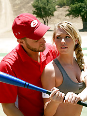 Alec is a softball coach that likes to give private lessons on his secluded field.  Brynn needs some help with her swing.  Alec is all too happy to help.....as long as she helps him with his SCHWING!