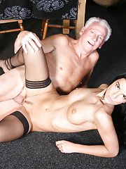 Lucky senior man fucking a real sexy beauty hard indoors