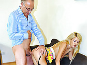 Hot naked babe fucking an old guy hardcore