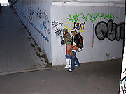 Teenage couple screwing in a public tunnel