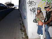 Horny brunette fucked doggystyle in a tunnel