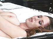 Shay Laren wearing high-heels and stocking whie in bed