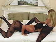 HotWifeRio and her girlfriend Mariah have some fun in sexy bodystockings