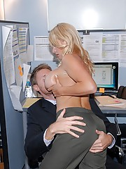 Beautiful hot fucking big tits office babe shoves her big melons in the accountants face then gets drilled hard against the desk hot pics