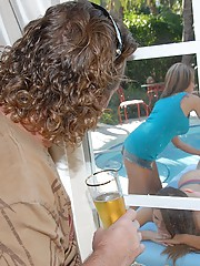 2 amazing super sexy mini skirt milfs share a cock in these poolside massage 3some hot pics