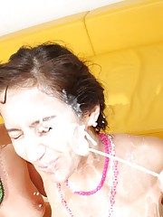 Thirsty slut getting drowned with massive facials