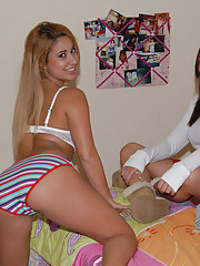 Amazing hot booty shorts teen gets spied on in the bathroom in this sexy babe girl friends