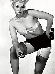 Chicks wear dark black stockings in fifties