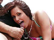 Young and dumb girl sucking off a jurassic cock on the beach