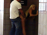 Unsuspecting slut gets undressed on the streets