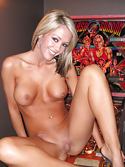 Naked fun in the game room