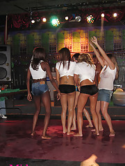 Crazy girls naked in the bar