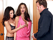 Teri Weigel is at her college reunion with her boyfriend. What he doesn�t know is that Teri met up with his ex-girlfriend, Hunter Bryce, and the two of them really hit it off. Now Teri and Hunter want give it the ol� college try and ride their guy!!!