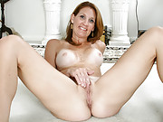 Busty milf with tan lines masturbates on her floor