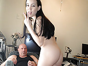Horny young slut getting the fuck of her life from an old geezer