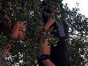 Chick in distress fucked in the bushes