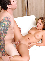 Hot Ella Milano gets a dog style fucking from stud and spewed with cum load on her face