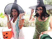 Two trick or treating bitch witches cum swap massive load!