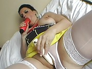 Filthy stocking clad Snow White working her toys