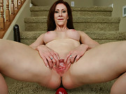 Catherine fucking a big red dildo