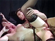 Stockings chick fucks and sucks a large cock