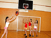 Four sexy lesbians love sporting with a ball