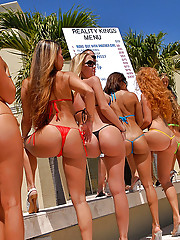 10 hot bikini babes party in the pool then fuck and suck for cash in these hot ass big tits bikini babe fuck fest pics