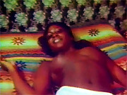 Vintage ebony sweetie masturbates in sixties