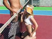 Cutie sucking the tennis teachers hard pecker