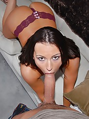 Super hot college babe gets her gsting ass pussy rammed hard and cum faced after rinding a mega dong in these hot pics and big movie