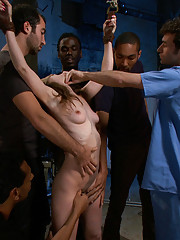 Beautiful psych ward patient is gang banged by hospital staff! Double penetration in bondage, blow bang, and more!