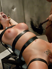 Chanel arrested for masturbating and gets bound and double fucked!