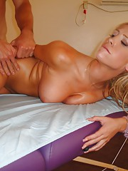 Hot slut getting massaged with a loaded cock