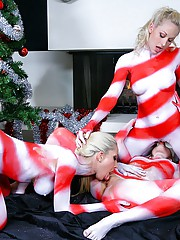 3 amazing hot fucking lesbian teens get drilled hard in this hot candy cane body paint fucking 3some special