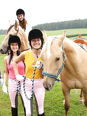 Horse riding babes licking eachothers pussy
